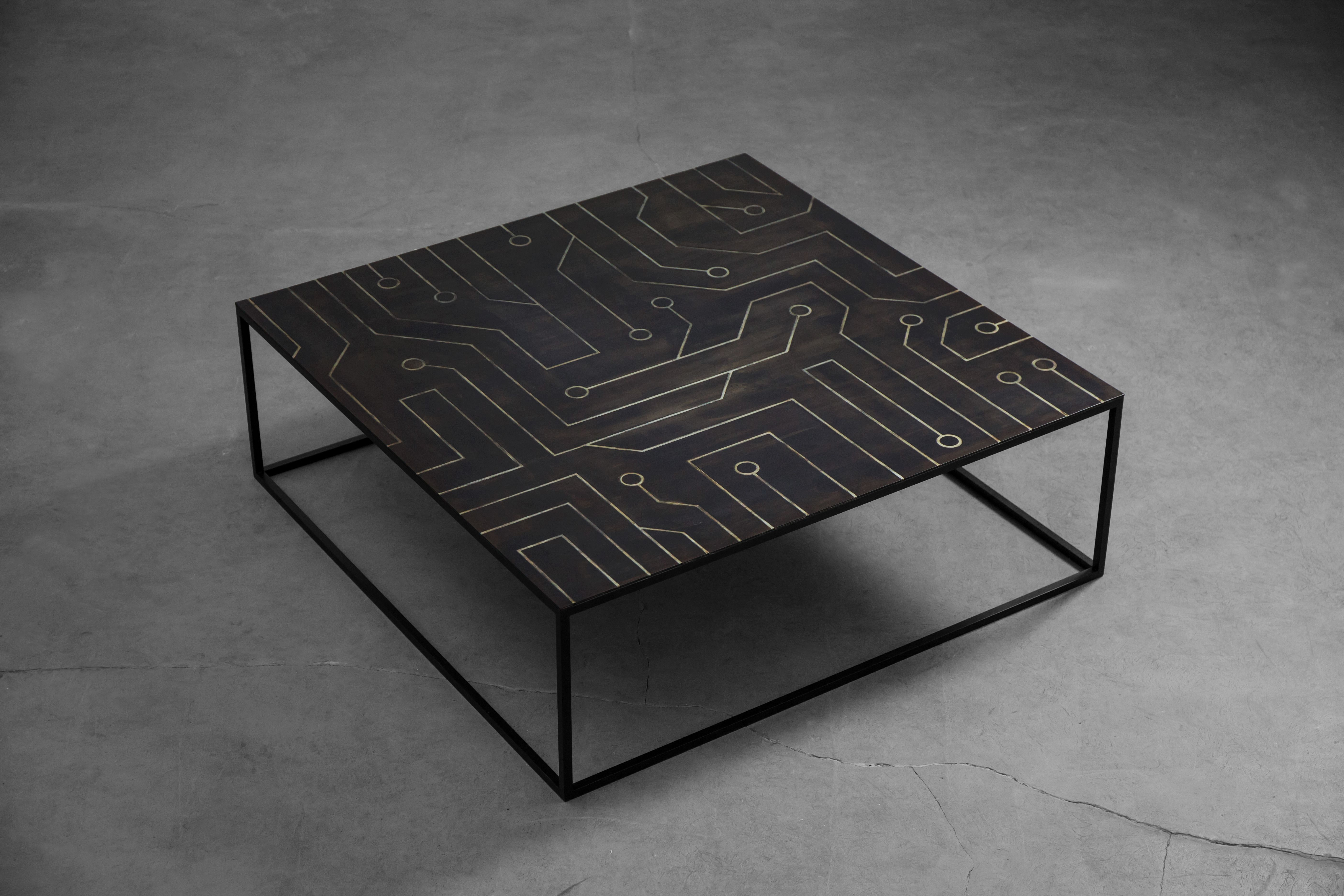 Brutalist Design Low Coffee Table With Steel Inlaid Top