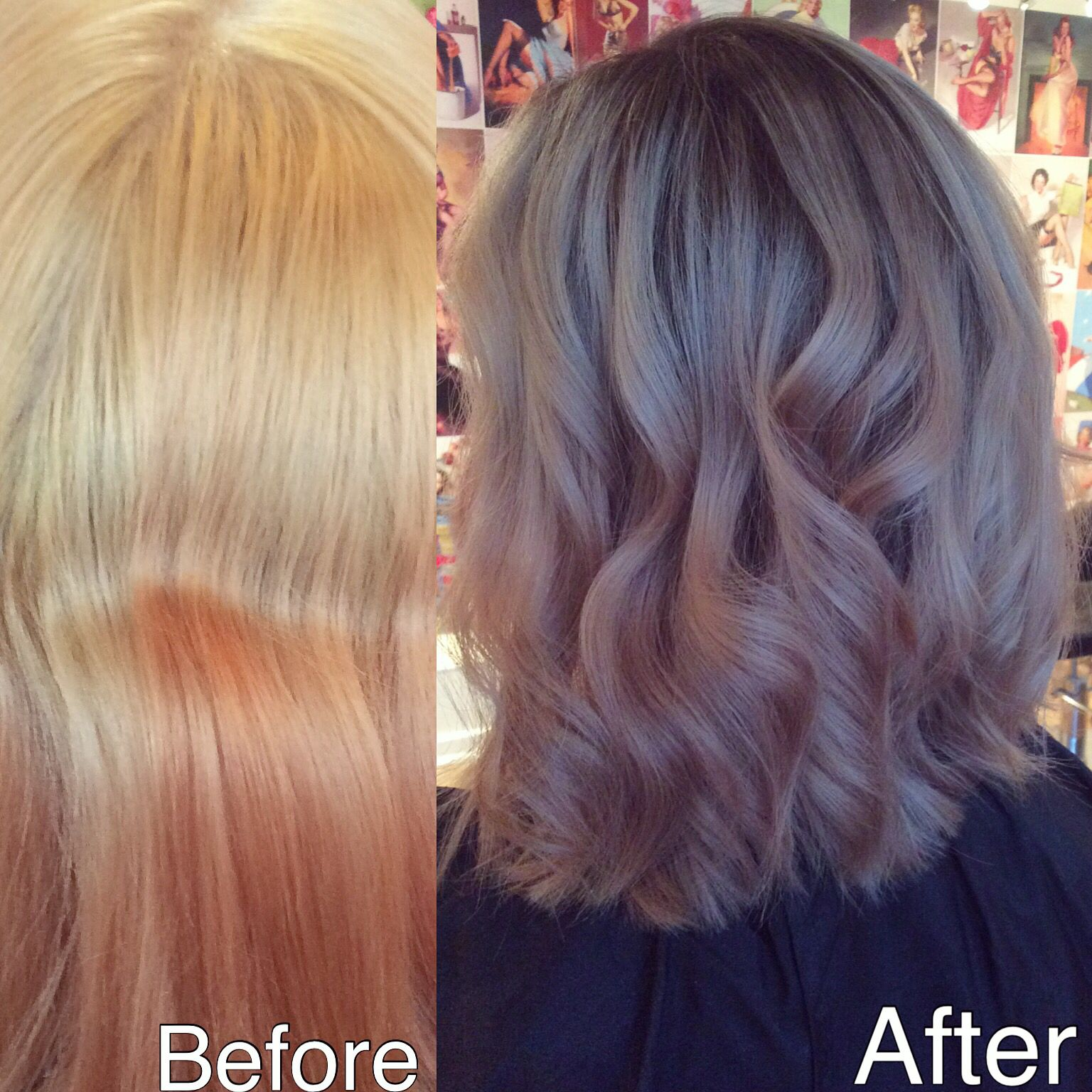 Transformation from a brassy orange home job to a healthy blonde