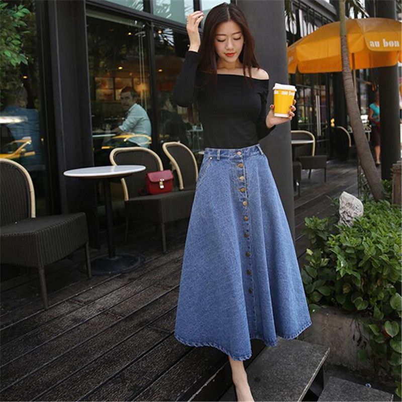 Fashion Winter Long Skirt Women Casual Denim Womens Clothing College Style High Waist A
