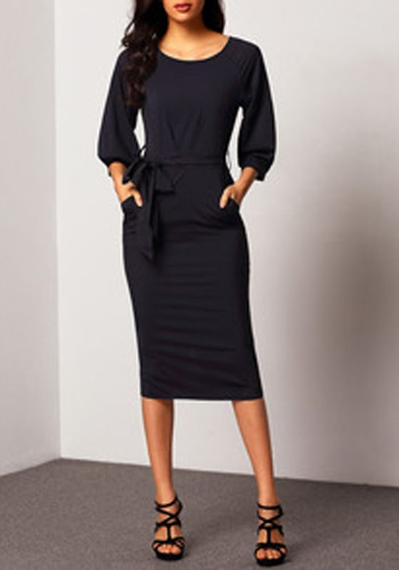Navy Blue Belt Elbow Sleeve Fashion Midi Dress  6c00444d1