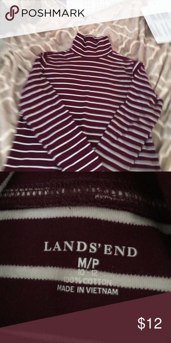 Maroon striped turtleneck Perfect condition. 3/4 length sleeves. Body of the shirt fits loose. Lands' End Tops Blouses