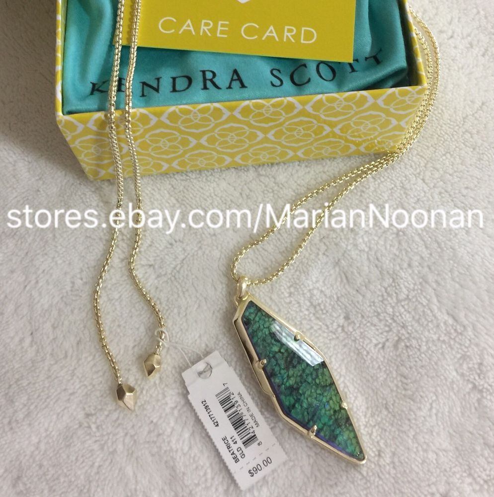 Kendra Scott Beatrice Long Necklace In Navy Crackle Illusion Gold