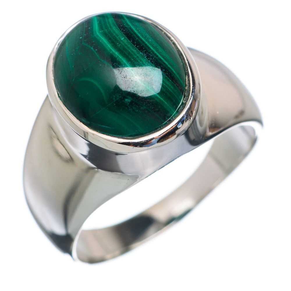 Malachite 925 Sterling Silver Ring Size 7.25 RING653146