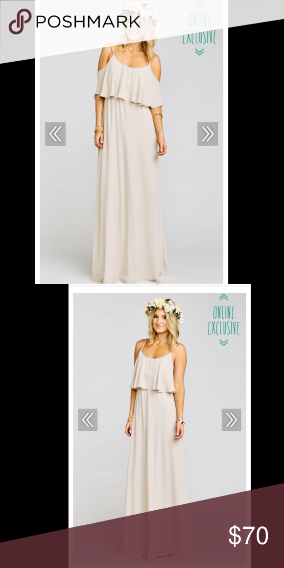 5d001be97589 Show me your mumu bridesmaid dress Style- Caitlin ruffle maxi Color- Show me  the ring crisp Good condition. Some dinginess on the bottom but not  noticeable ...