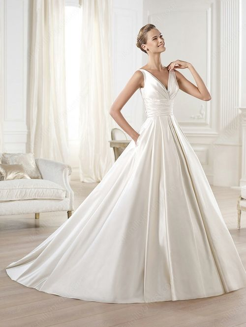 Ball Gown V Neck Satin Sweep Train Pockets Wedding Dresses 00020293