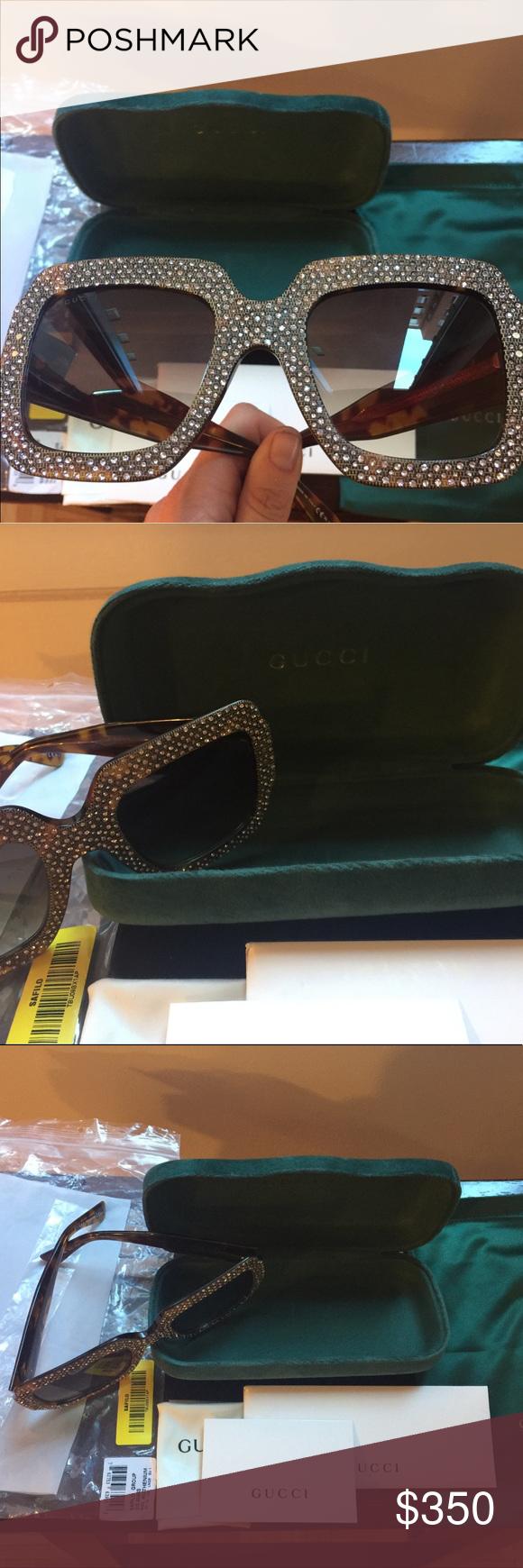 2a30a2ecd37 Gucci Oversize Rhinestone Sunglasses GG0048S Gucci Accessories Glasses