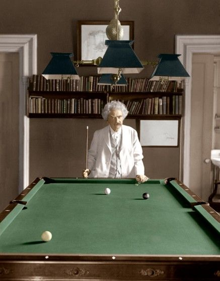 How sweet is this? Mark Twain at the pool table -1908.