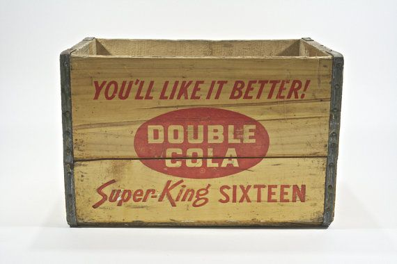 Vintage Wood Pop Crate Double Cola Wood Pop Crate Industrial