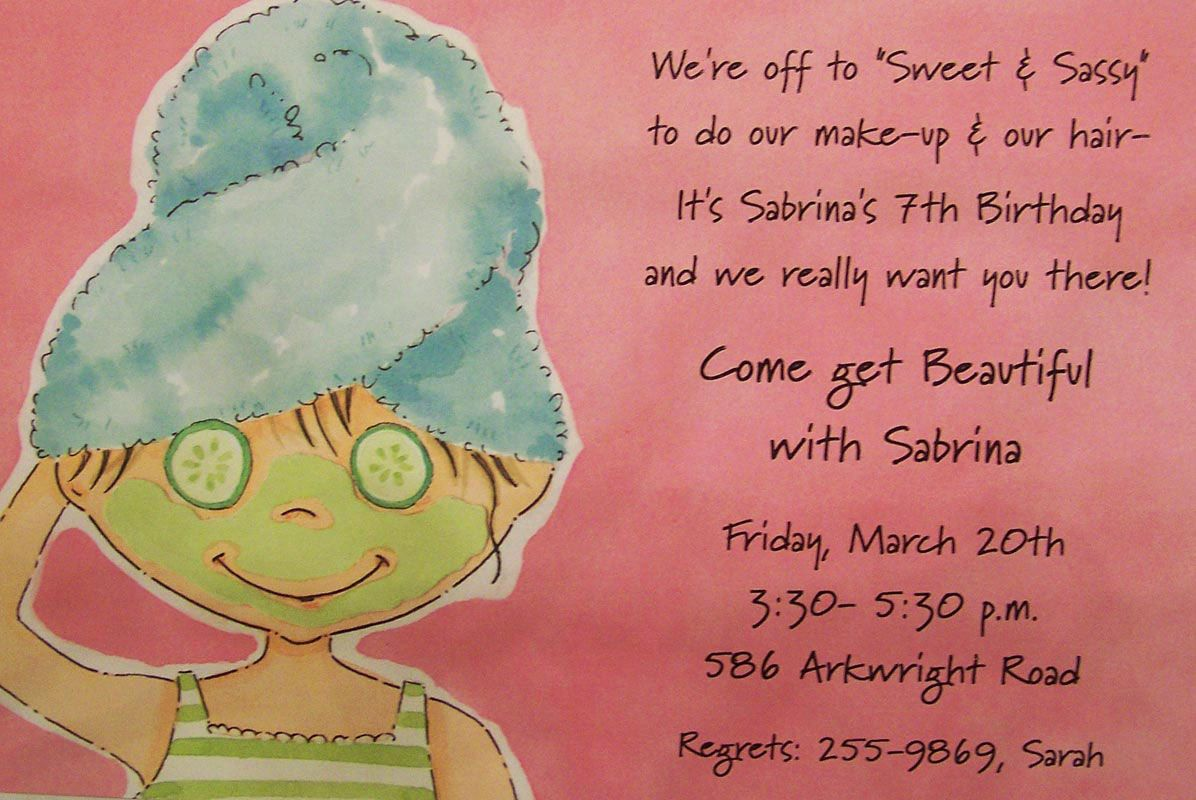 little girl party ideas – Little Girl Spa Party Invitations