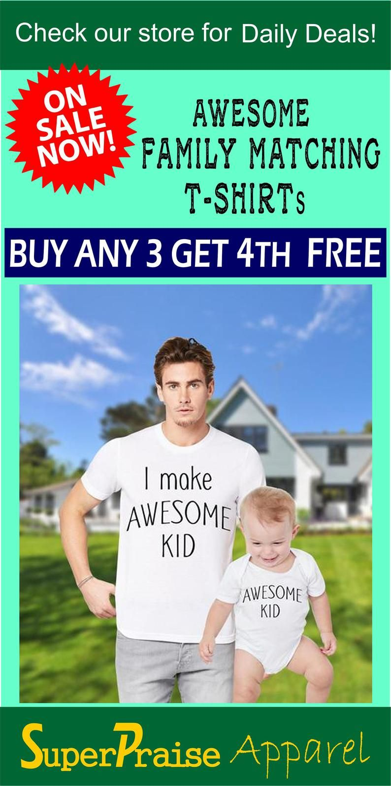 d88ba05d Father Son Matching Dad and Baby Shirts I make Awesome Kid Awesome ...