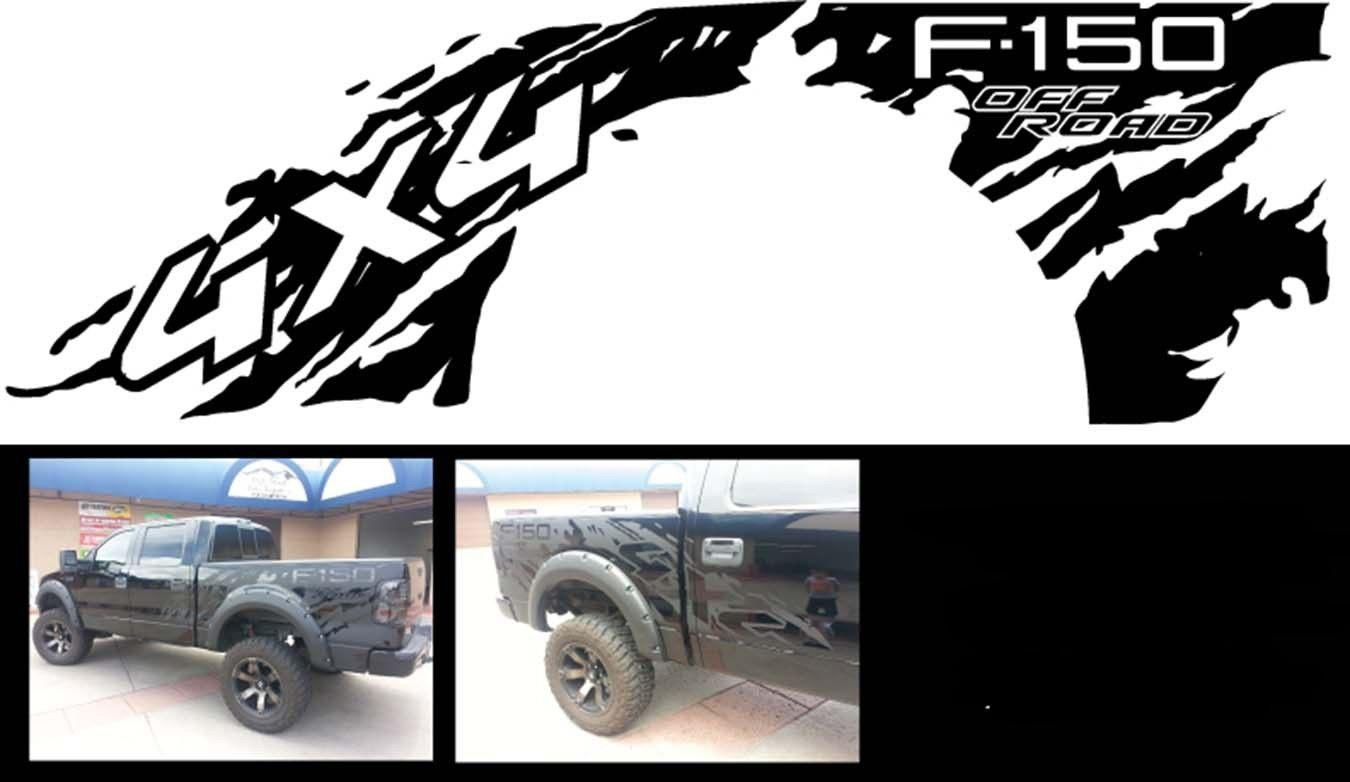 Product FORD F RAPTOR X Bed DECALS GRAPHICS STICKERS - Truck bed decals customford f vinyl graphics for bed fender
