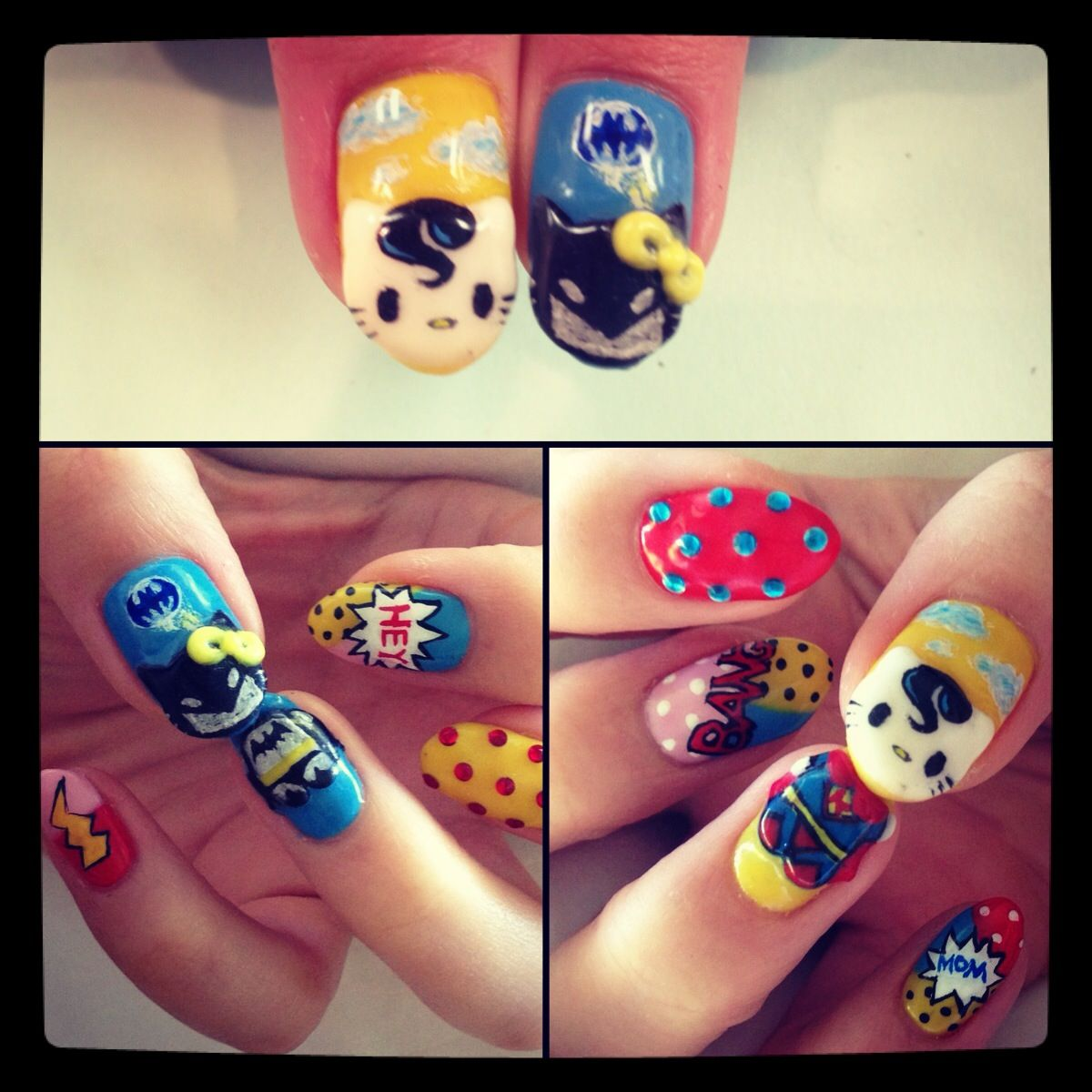 July Comic Con Expo nails. Inspired by comic book art, hello kitty ...