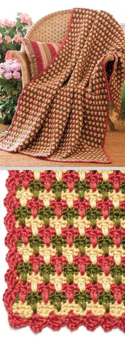Garden Plaid Throw, by Margaret Wilson; free pattern on FreeCrochet ...