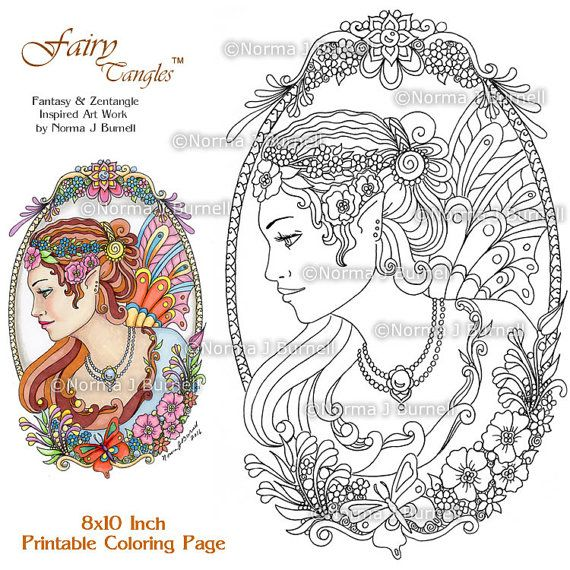 Cameo Fairy and Flowers Fairy Tangles Adult Printable Coloring Book ...