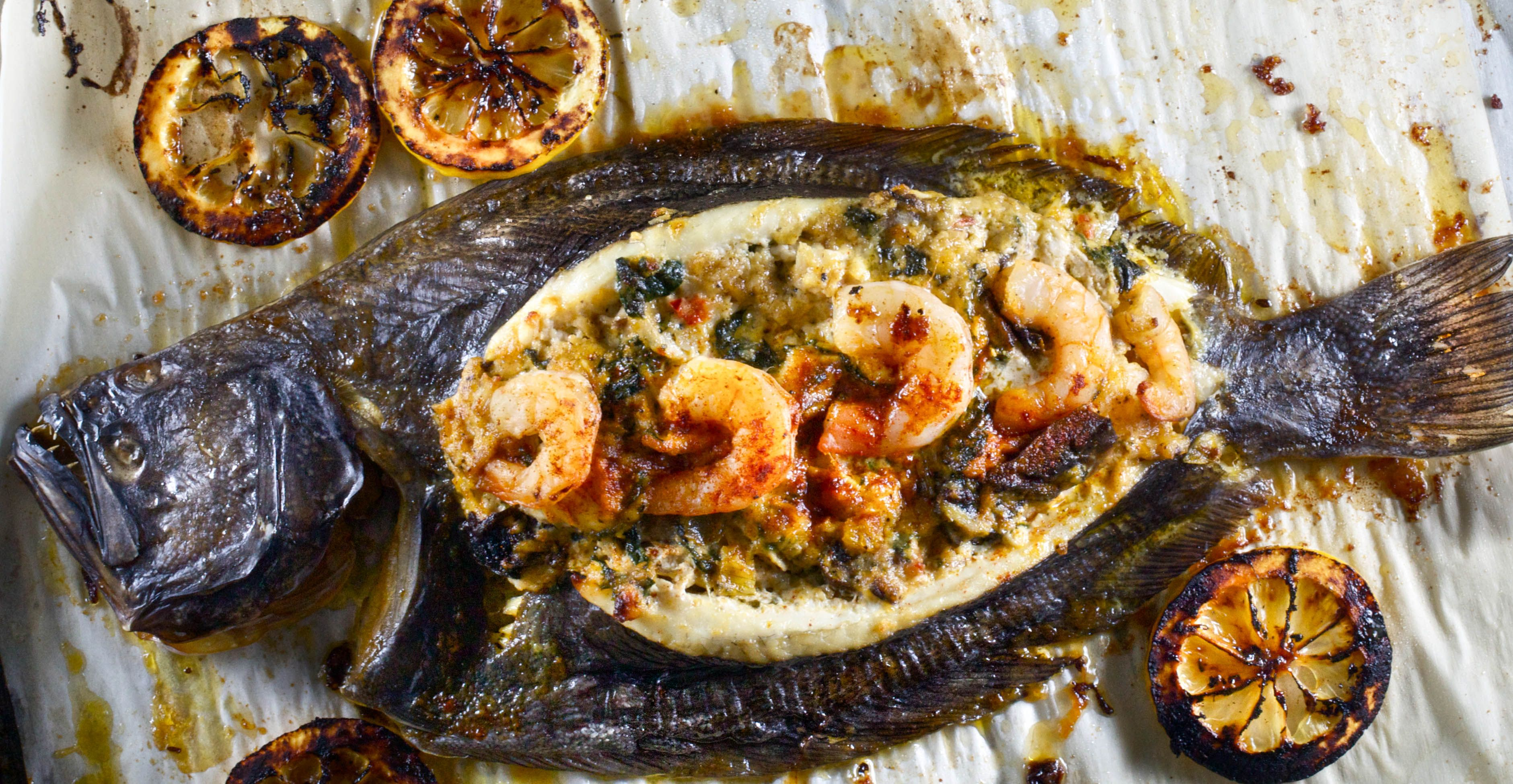 Stuffed Whole Flounder #cajundishes