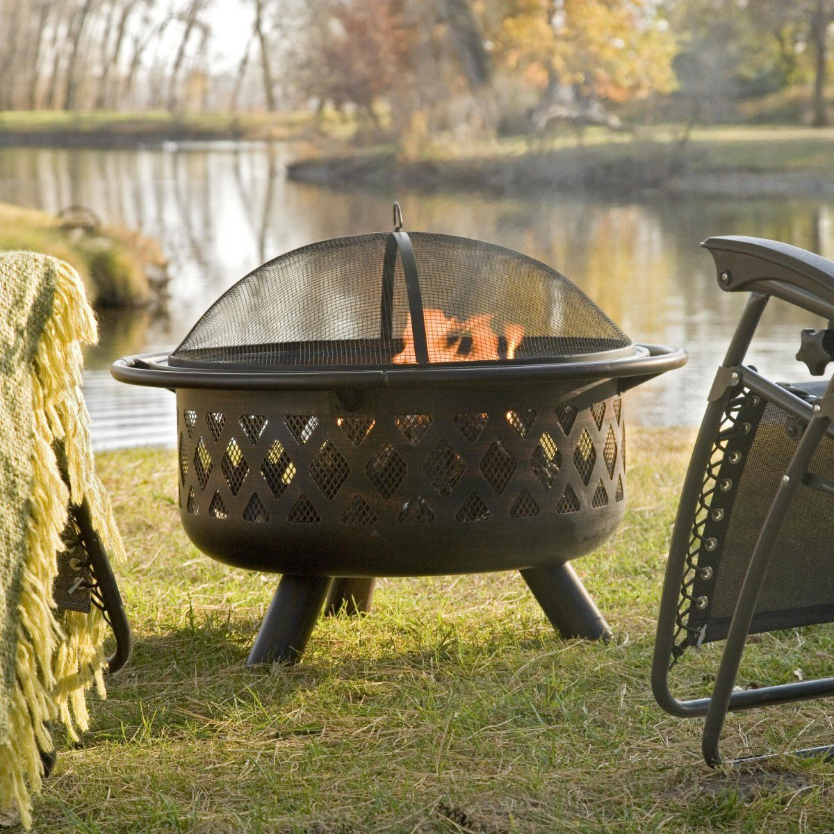 Bronze crossweave firebowl fire pit with free cover and