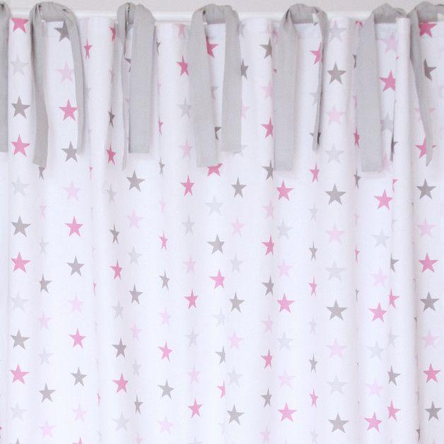 Vorhang Gardine Sterne grau rosa 150 x 240 cm
