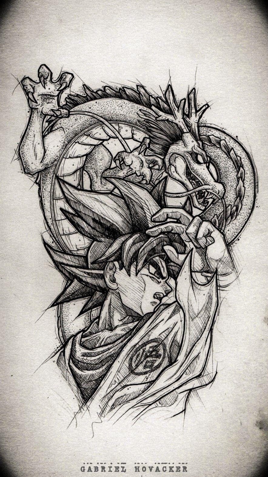 Dragonball Blackwork Tattoo Design Goku Anime Tattoos Gaming Tattoo Dbz Tattoo