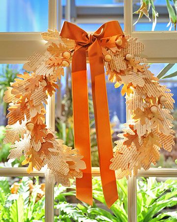 Vintage Paper Leaf Wreath - use a leaf template to turn an old book into a unique, whimsical autumn wreath!