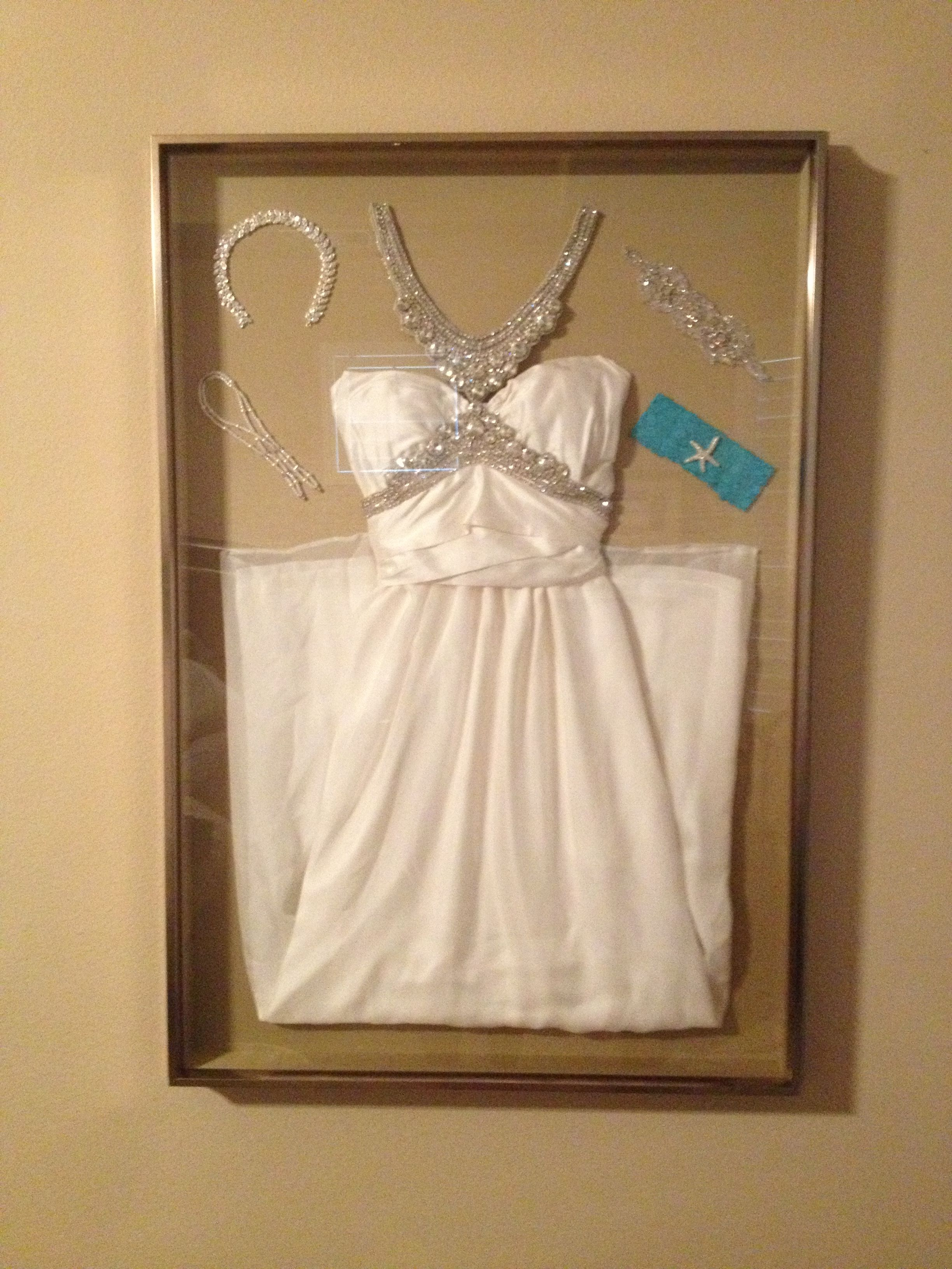 Display your wedding dress and accessories in a shadow box for Wedding dress shadow box