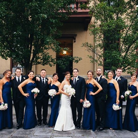 If cant find a navy blue of the same tone for the groomsmen and bridesmaids, may go with black
