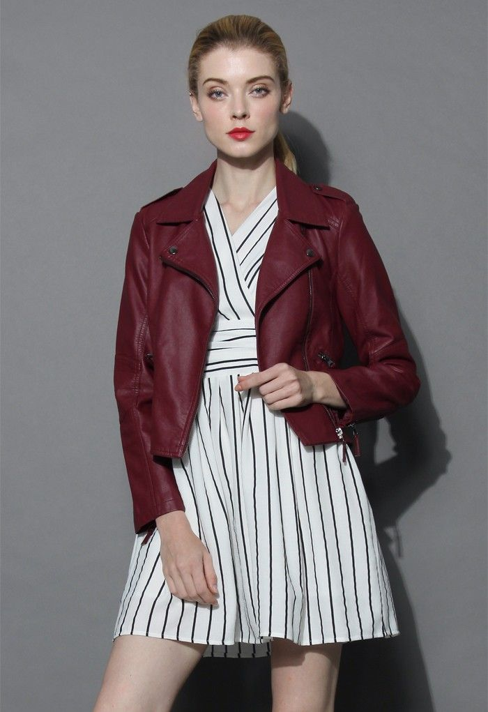 Chic and Stylish Faux Leather Biker Jacket in Wine