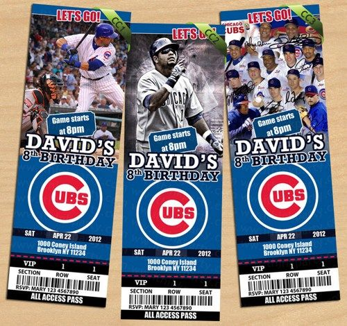 CHICAGO CUBS INVITATION Baseball Theme Birthday Party for Boys