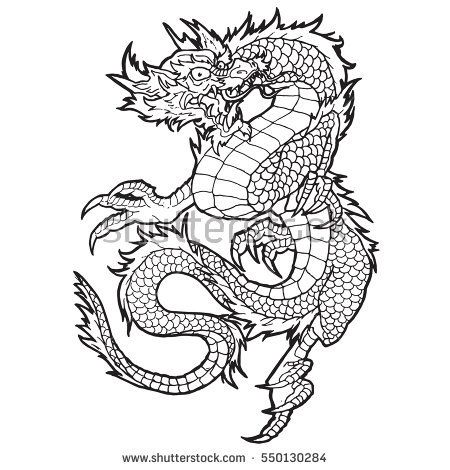 Hand drawn illustration of dragon with zen pattern and