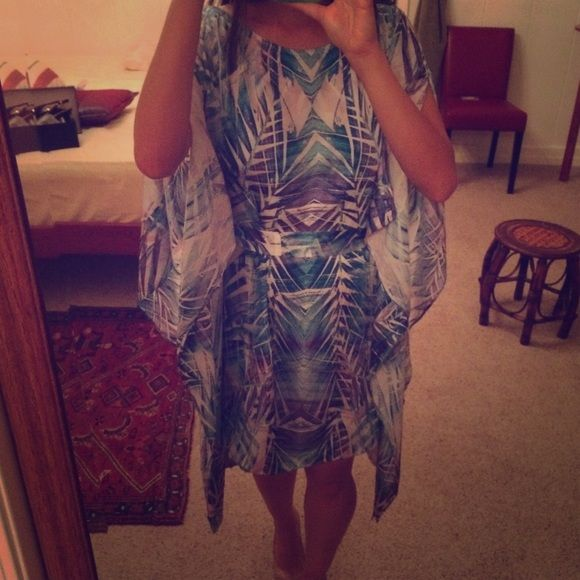 Australian designer blue and purple kaftan dress Gorgeous kaftan dress with open shoulders and sleeves. Tie waist, silk like material. Made in Australia by Aussie designer Sheike. Wore once for a few hours to a beach wedding. Could also be worn as a top over leggings or jeans. Fits XS to M. Perfect condition. Listed under Zara for exposure. Zara Dresses