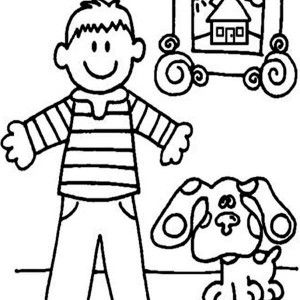 blues clues blues clues in the house with steve coloring page blues clues in - Blues Clues Coloring Pages
