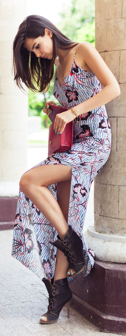 Leaf Print Splitted Maxi Dress by The Golden Diamonds