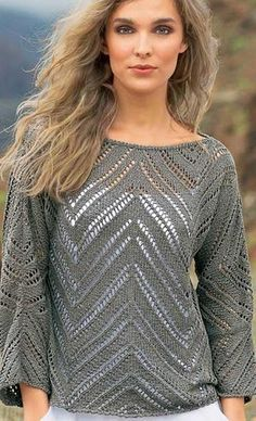 Модный джемпер спицами #crochettunicpattern