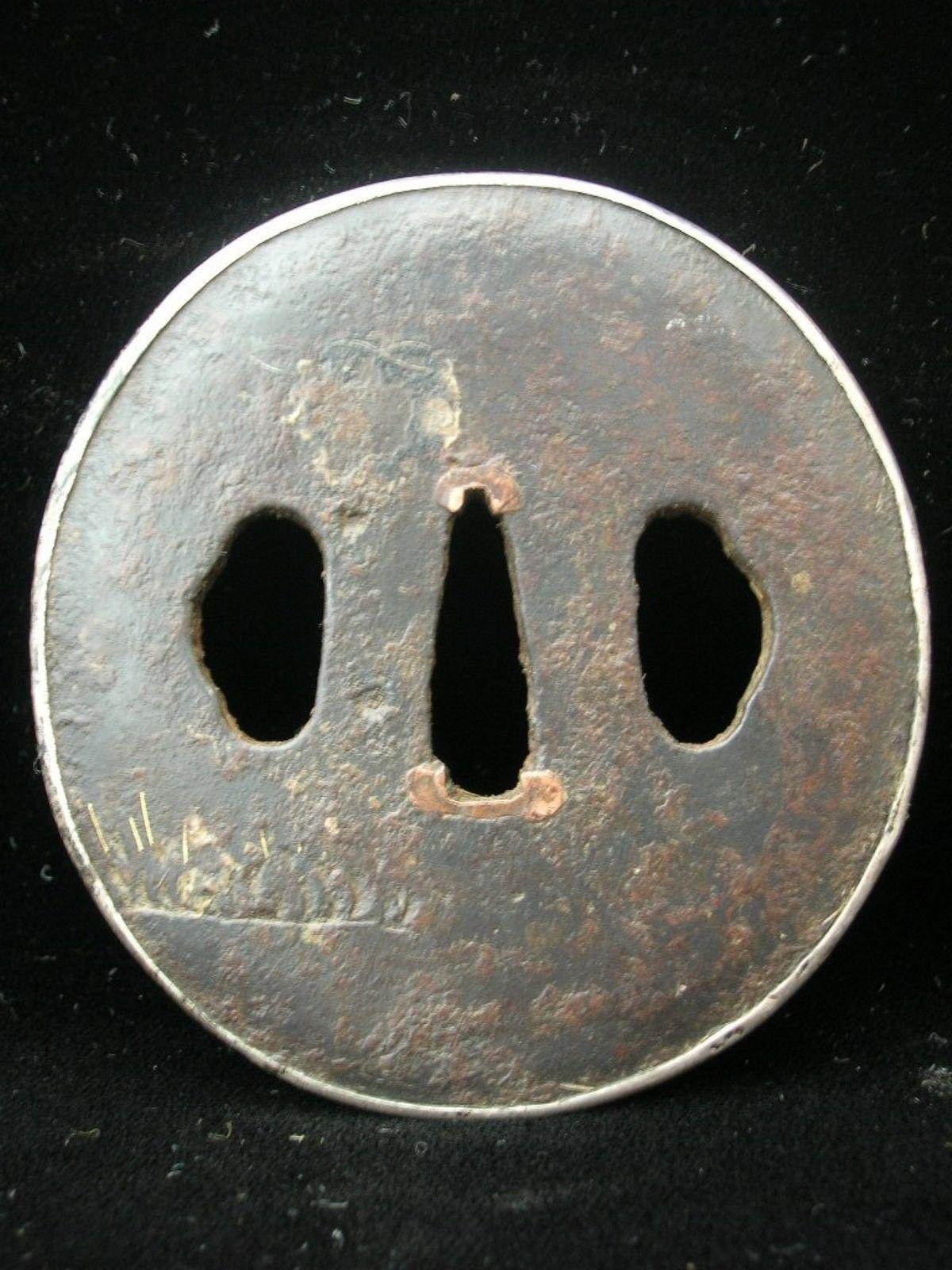 Tsuba- Iron with gold inlay, Edo period- Late 18th Early 19th Century