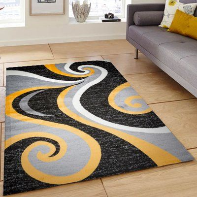 Ebern Designs Ramona Swish Black Gray Yellow Area Rug Rug Size 5