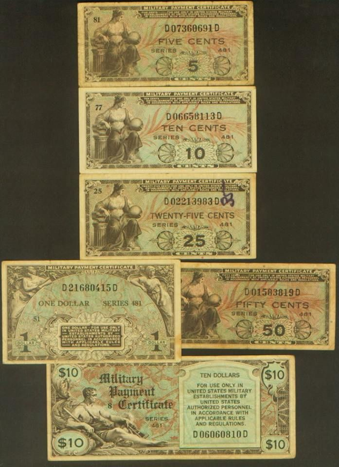 5c 110 Military Payment Certificate Series 481 Vf Httpwww