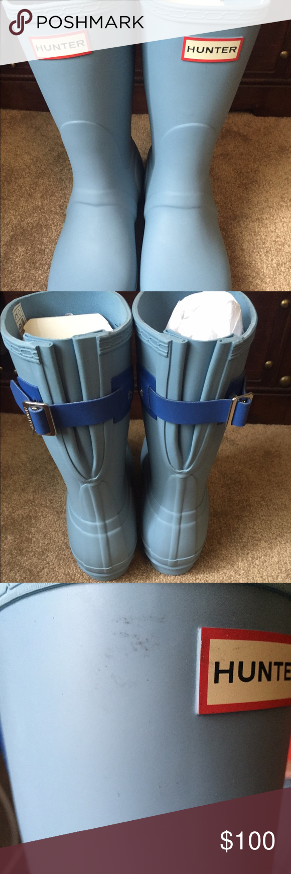 """Rare Blue Hunter Boots Size 10 women's. Bought these on MER as """"new never worn"""" but they have been once or twice? See pictures. Some scuffing and wear visible. Other than that, they do appear new. Didn't fit me. Comes with original box. If you don't want the box, I can ship for cheaper and reduce price! Retails $130! Also on MERC for less. Will ship same day sold! Hunter Boots Shoes Winter & Rain Boots"""