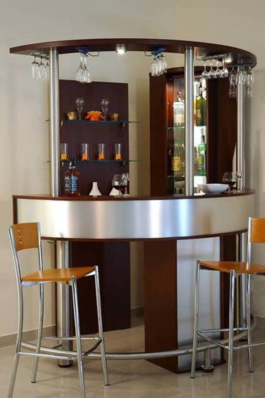 Interior Stunning Corner Small Bar Design Ideas With Hanging Wine Glass Rack Featuring Stools For Modern Home Excellent Mini