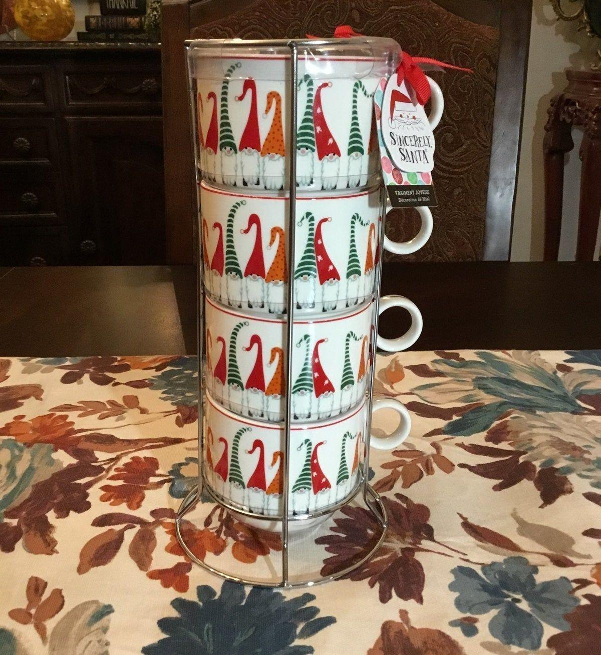Porcelain Christmas Gnome Mugs Amp Stand