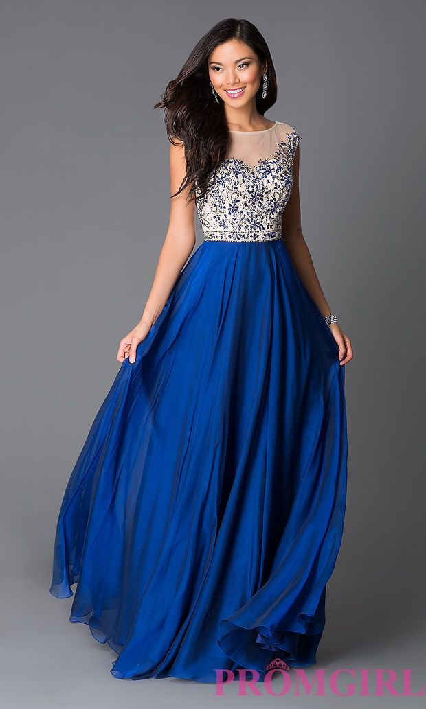 49514482215 Sapphire Blue Beaded Cap Sleeve Illusion Long Prom Dress