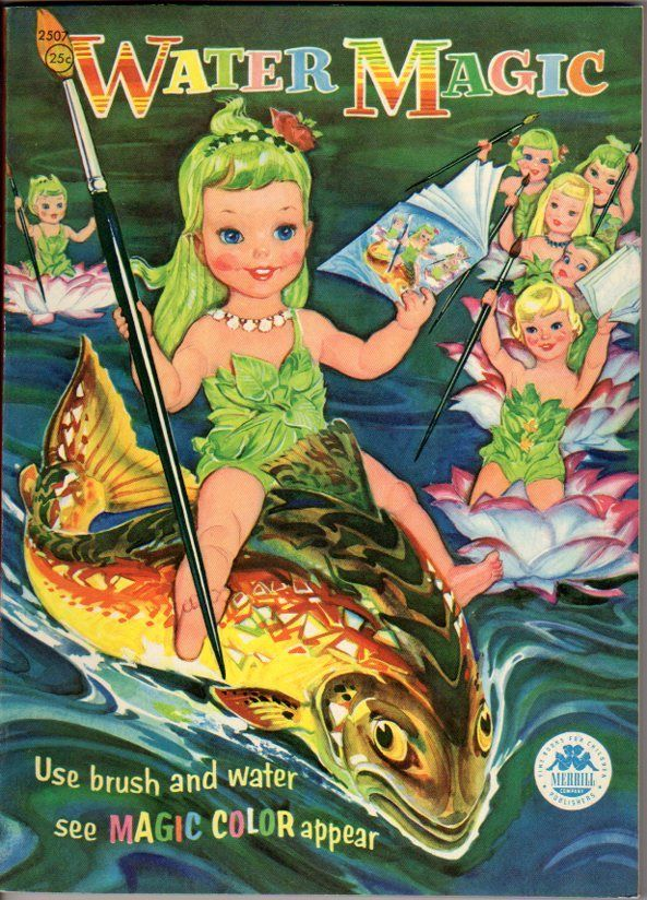 1956 Water Magic Paint Book Merrill Vintage Coloring Books Childrens Books Illustrations Coloring Books