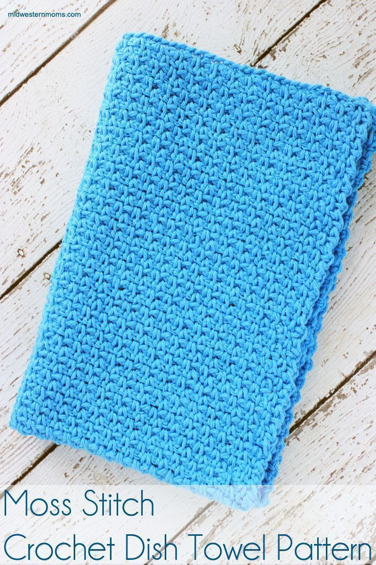 Moss Stitch Crochet Dish Towel Pattern | Crochet dish towels, Moss ...