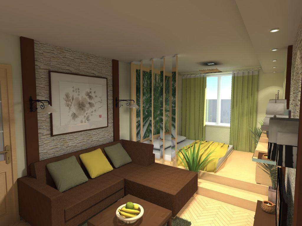 дизайн комнаты 30 кв.м спальни-гостиной фото
