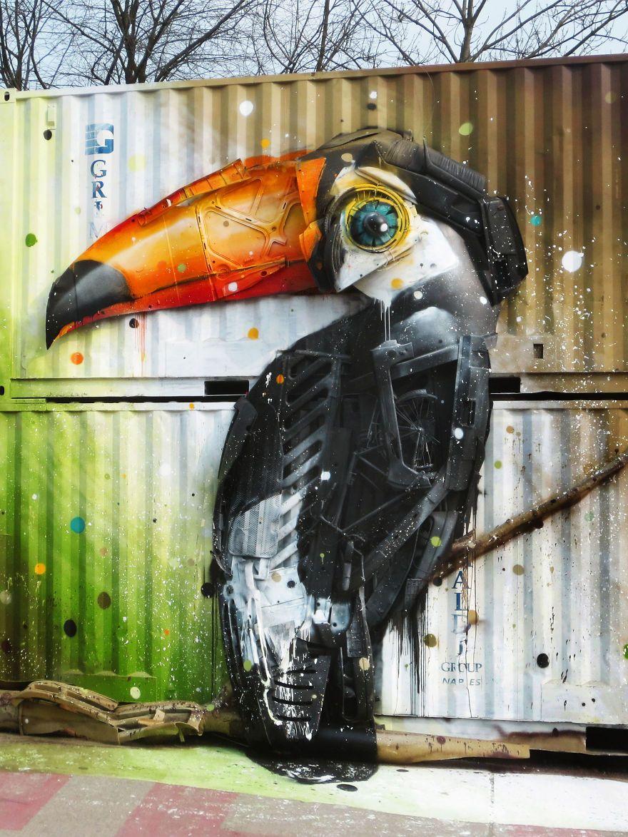 Graffiti art animals - Street Artist Artur Bordalo Uses Junk To Create Big Trash Animal Sculptures