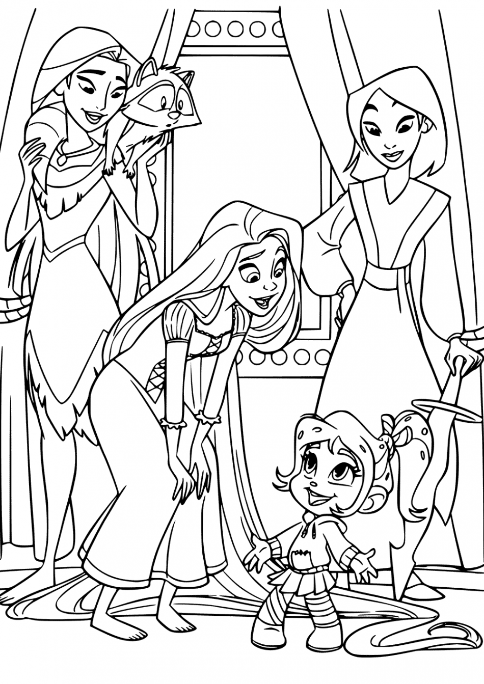 Vanellope and Disney Princess Coloring Pages  Disney princess