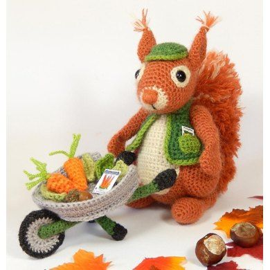 Amigurumi Crochet Pattern Cyril the Squirrel is the Head Gardener at Nutsford Manor. He's naturally well equipped for the job with his huge bushy tail, which he puts to use to sweep the garden clean. Every autumn you'll find him gathering up the fallen leaves and twigs in his wheelbarrow, ready to make bonfires to warm the chilly evenings. One of the perks of the job is being able to collect enough acorns and horse chestnuts for his supper too, plus a few to stash away in his pantry ready…
