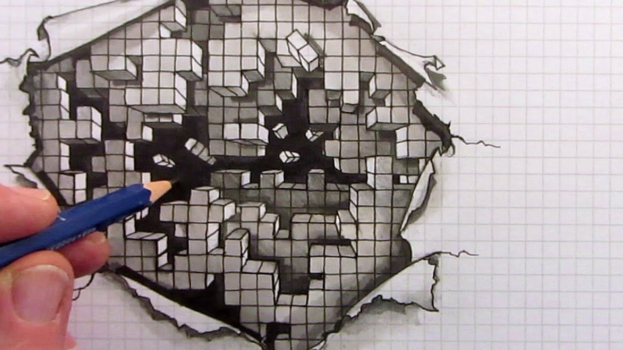 How To Draw A Whole Load Of Cubes In This YouTube Optical Illusion Drawing Youtube B MATY5cuLQ