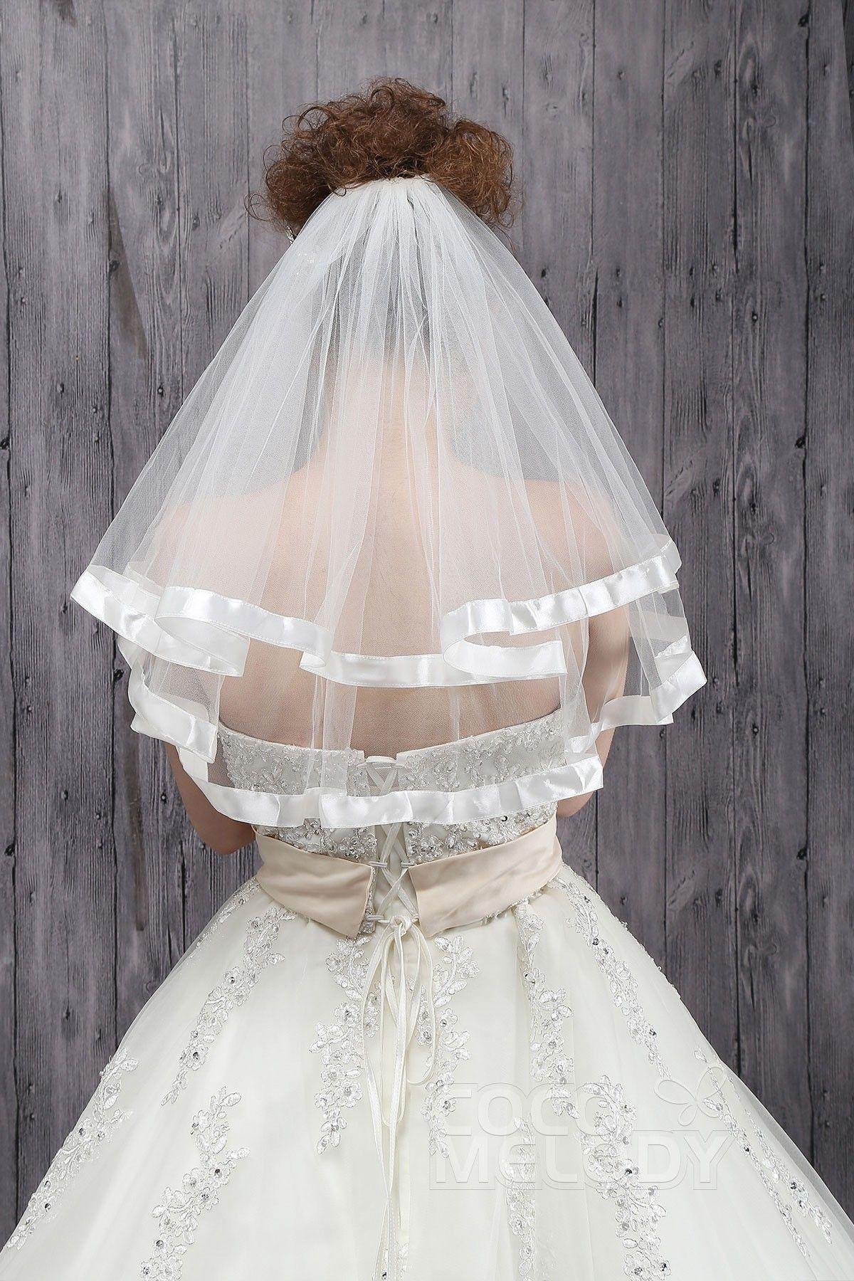 Charming Two-tier Ribbon Edge Tulle Ivory Elbow Veils CV0015010cocomelody#weddingveil#bridal#veil#