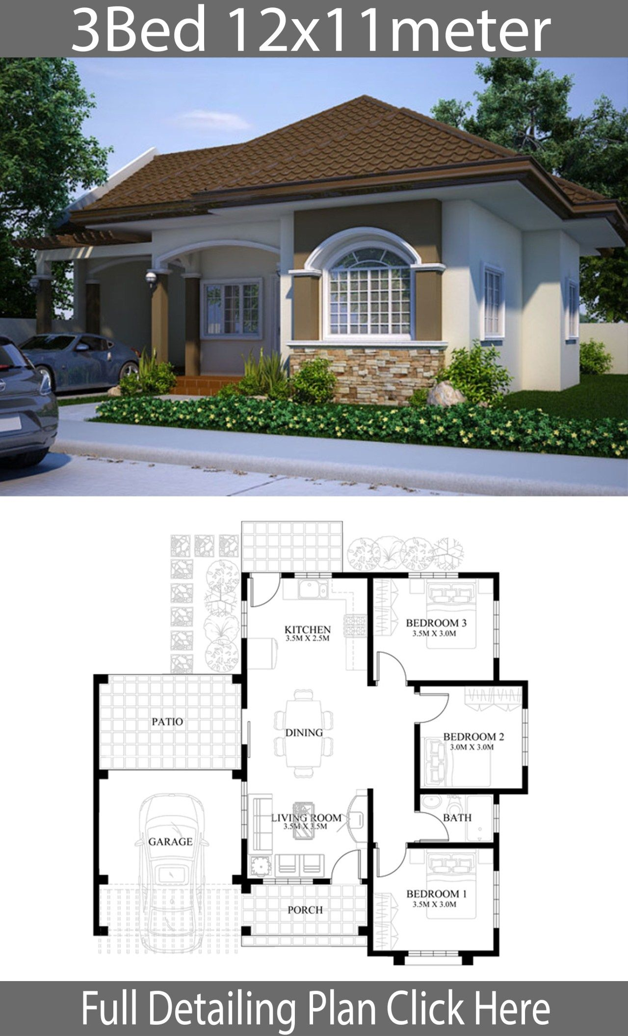 Small House Design Plan 11x12m With 3 Bedrooms Home Ideas Small House Design Plans Small House Design Model House Plan