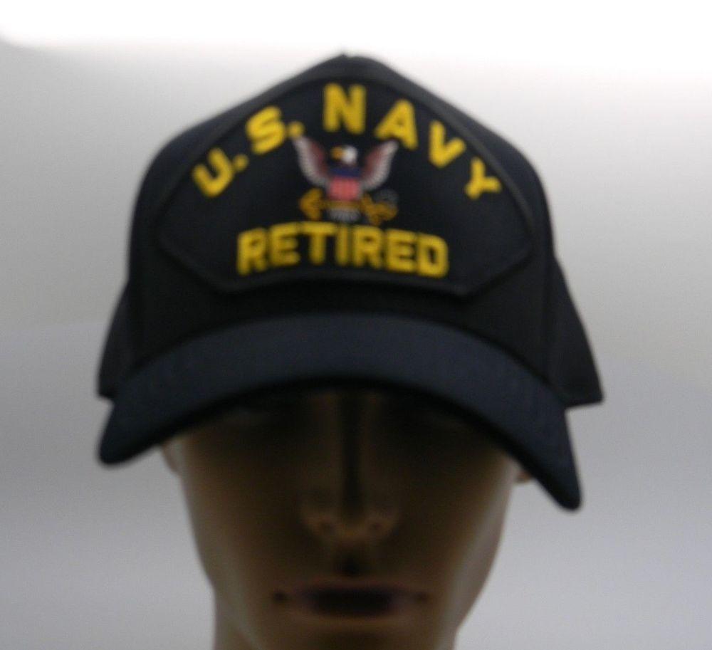 66e5deffb6c U S Navy Retired Cap Hat Embroidery Adjustable Back USA Made Military  NAVY   BaseballCap