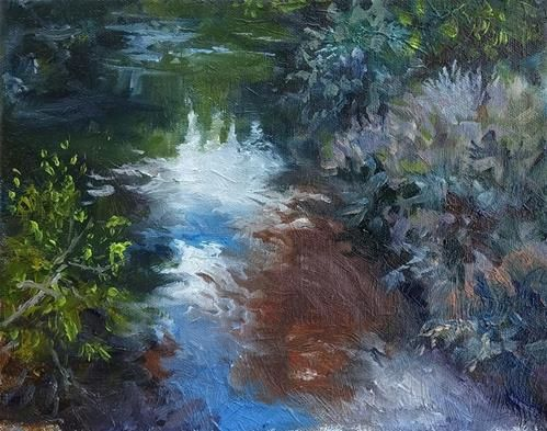 "Daily Paintworks - ""Creek Reflections -Plein Air"" - Original Fine Art for Sale - © Gus  Lopez"